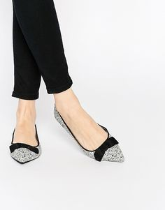 Oasis Glitter Bow Pointed Flat Shoes
