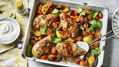 Ras-el-hanout baked chicken |      Replace potatoes with root vegetables to reduce the carbohydrates in a chicken traybake and add plenty of spice to turn up the flavour.Each serving provides 361 kcal, 44g protein, 30g carbohydrate (of which 14g sugars), 5.5g fat (of which 1g saturates), 7g fibre and 0.5g salt.