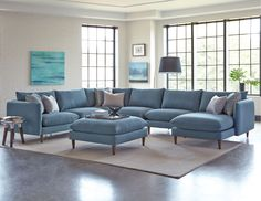 Melbourne Blue Upholstered 6-Piece Casual Modern Sectional