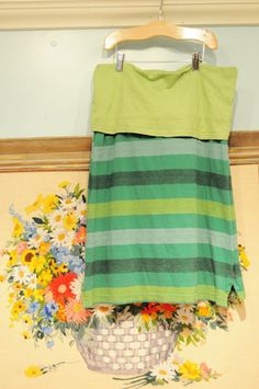Recyled out of two old t-shirts... A-line skirt with yoga type waist band.