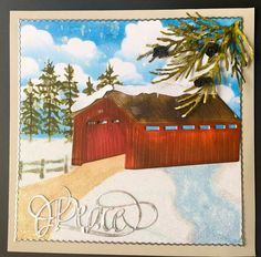 For this snowy card, Susan begins by combining a few stencils from her Behind the Scenes collection. Susan then adds her CountryScapes Covered Bridge, which she covers with a few of her snow mounds from her CountryScapes Snow Decor Set. Next, Susan adds her Garden Notes Whitepine Boughs & Pinecones to the corner of her card. Susan finishes her project with a perfect calligraphic word for the holiday season: Peace, from Suzanne Cannon, A Way With. Words