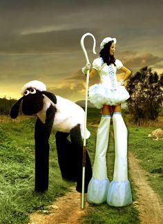 Bo Peep & Four Legged Sheep Stilts. Big Foot Events.