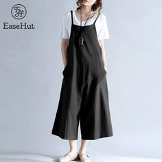 Women Jumpsuit Dungarees Ladies Romper Midi Ethnic Print Large Pockets Loose