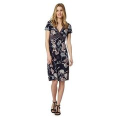 RJR.John Rocha Designer navy floral and geo print jersey dress- at Debenhams.com