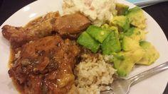 Dominican meal pollo guisado con frijoles negros arroz aguacate ensalada de papa #Dominican #goodeats #Caribbean #foodie