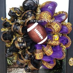 "30"" Saints & LSU deco mesh wreaths with fleur de lis ribbons, helmets, and football  Jayne's Wreath Designs on fb"