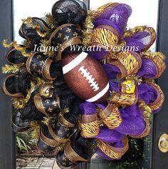 "30"" Saints & LSU deco mesh wreaths with fleur de lis ribbons, helmets, and football  Jayne's Wreath Designs on fb"