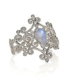 Pamela Froman Fine Jewelry, Palladium Ice Princess cuff with 15 cts. t.w. rainbow moonstones with 3.01 cts. t.w. diamonds