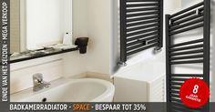 Badkamerradiator - SPACE is een eenvoudige handdoekradiator met de superkwaliteit die je kan verwachten van TopDesignRadiatoren. Krijg 35% korting