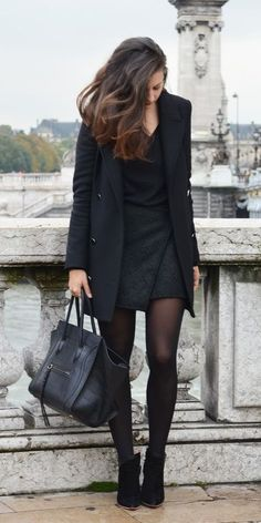 Women's Black Coat, Black V-neck Sweater, Black Quilted Mini Skirt, Black Su. - dress in fall/winter casual clothes - Mode Mode Outfits, Dress Outfits, Office Outfits, Maxi Dresses, Fashion Outfits, Fashion Shorts, Office Attire, Work Attire, Skirt Fashion