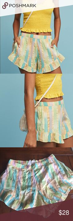 NWT Anthropologie Soft Pastel Striped Shorts Sz M New with tags~ Anthropologie Pastel Striped Shorts by Lilka in a size M. Also great as lounge wear with pull on styling.  Cotton, Rayon and very lightweight. See my closet for matching hooded cover up. Brand new excellent condition with tags attached. Item from a pet and smoke free home. D49 Anthropologie Shorts