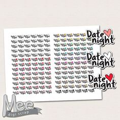 Date night printable planner stickers,Functional stickers for use in Erin Condren,Happy planner,Filofax,Mini planner stickers printable,pdf by MeeDigiScrap on Etsy