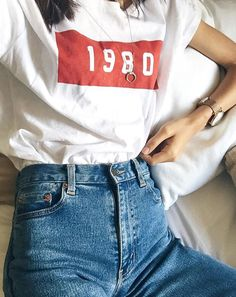 Get the jeans for $30 at ae.com - Wheretoget 1980 T Shirt Teamed With Ripped Mom Jeams Street Style 2017 Outfits Tumblr