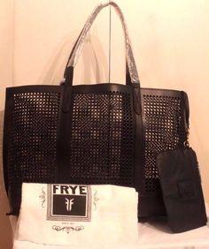 nwt FRYE Peyton Perforated LG Italian Leather Shopper Tote/ Bag Black MSRP: $398 #Frye #TotesShoppers