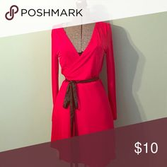 Red wrap around dress Never been worn! Strechy material, leather wrap belt. Perfect holiday dress! JustFab Dresses Long Sleeve
