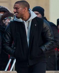 USA Actor Michael B. Jordan XXIV Battle Fictional Hero Adonis Creed Varsity Black Jacket exclusively availble for sale at amazing low cost. Black Bomber Jacket, Leather Jacket, Jacket Men, Micheal B Jordan, Battle Jacket, Knitting Designs, Real Leather, Jordans, Outfits