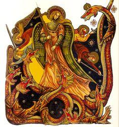 (Saint-Michel terrassant le dragon, enluminure de Jean-Luc Leguay, Le Livre de l'Apocalypse, Éditions Ipomée Albin Michel, © Jean-Luc Leguay)