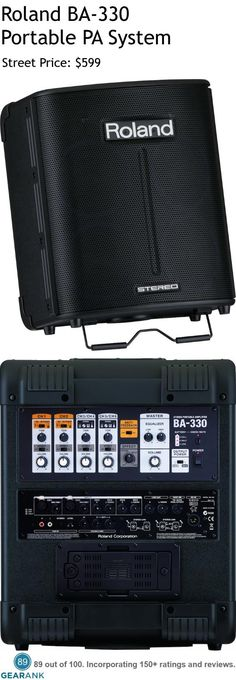 "Roland BA-330 Portable PA System.  Features: 30W Amplifier that Runs on Battery (8xAA) or 12V external power supply - Channels: 4 - Preamps: 2 - No Phantom Power - Speakers: 4 x 6.5"" Drivers and 2 x 1"" Tweeters - EQ: 1-Band EQ - Input: 2 x XLR (Mic), 2 x 1/4"", 2 x 1/4"" (Stereo) - Output: 2 x 1/4"" (Line).  For a Detailed Guide to Portable PA Systems see https://www.gearank.com/guides/portable-pa-systems"