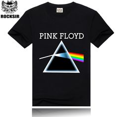 >> Click to Buy << Rocksir Men T-Shirt Black T shirts Pink Floyd Rainbow Print  Skateboard Rock Hip Hop Punk Black Tee Homme Camisa Masculina #Affiliate