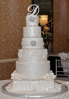 Pearled white wedding cake by Design Cakes, via Flickr