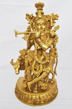 very attractive & decorative statue of lord krishna made by brass metal