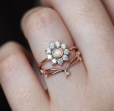 Halo Diamond Ring with Australian Opal in Rose Gold, Diamond Flower Ri – Capucinne Diamond Bands, Diamond Wedding Bands, Halo Diamond, Diamond Jewelry, Diamond Flower, Gold Jewelry, Gold Bracelets, Rose Gold Flower Ring, Diamond Earrings