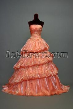 15 Coral Colored Quinceanera Dresses Orange prom dress ball gown