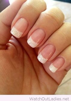 Glittering white french manicure trend