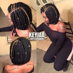 Bob box braids with gold highlight and hair accessories.