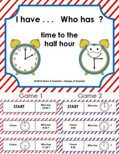 "This packet includes two separate games.   One game will require students to read the time on the clock to answer the question, ""Who has …? ""  The other game will require students to read the time on the clock to ask the question, Who has . . . ?""      $1.50"