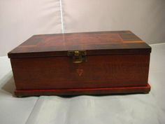 Beautiful Vintage Hand Made Inlaid Wood Box Hinged Lid by dtriece, $45.00