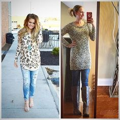 Leopard is a Neutral  today's the last day of #stylemenovember a BIG thank your for everyone who joined me & @kari.montgomery this month! - were doing it again next month with #stylemethrifteddecember - along with a few other hosts @kristy_tatum @shoestringcontessa @mythriftycloset365 // today's #pinneditthriftedit #ootd details  Oversized tunic : #modainternational $3.99#goodwill  Skinny jeans : #express $4.99 #thrifted  Tan boots : #rampage $19.99 #belk last year for #blackfriday  I'm head