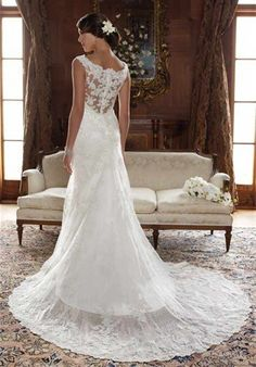 I love the lace back - Click image to find more Weddings Pinterest pins