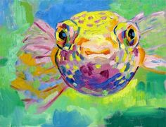 Puffer Fish daily painting 78 by permanentmagenta on Etsy