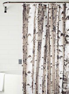 Kikkerland chez Simons Maison.  Un motif naturaliste au réalisme saisissant avec son imprimé photo d'une forêt de bouleau.   - Imprimé noir et blanc graphique pure mode  - Rideau en tissu 100% polyester  - 183x183 cm