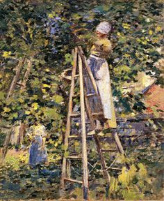 Theodore Robinson (American, 1852-1896), [Old Lyme Colony, Impressionism] Gathering Plums, 1891.