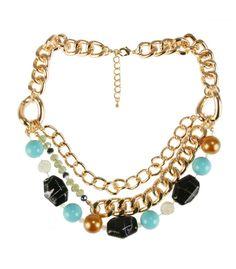Collar de la marca Lola Casademunt vueltas cadenas y piedras