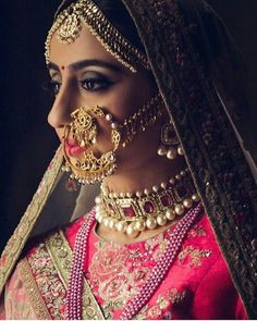 Perfect finishing to a bridal look is given by stunning nose rings! Book the best makeup artist now with BookEventZ to get the perfect bridal look on THE DAY! Bridal Necklace, Wedding Jewelry, Choker Necklaces, Wedding Accessories, Hair Accessories, Fashion Necklace, Fashion Jewelry, Real Gold Jewelry, Gold Jewellery