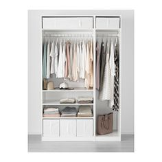 PAX wardrobe options for bedroom. Combinations with doors - PAX system - IKEA Ikea Pax Wardrobe, Ikea Closet, Wardrobe Doors, Bedroom Wardrobe, Closet Storage, Bedroom Storage, Glass Wardrobe, Pax Closet, Walking Closet