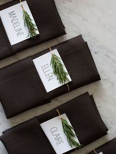 Rosemary Sprig Place Cards on black napkins Diy Place Cards, Wedding Place Cards, Diy Cards, Wedding Table, Menu Cards, Deco Champetre, Decoration Christmas, Christmas Time, Ornaments