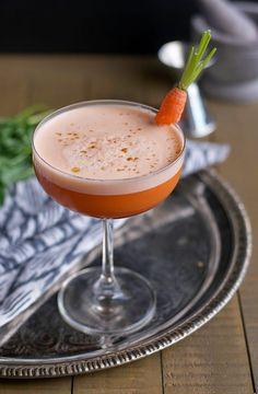 Frank the Rabbit Cocktail: carrot juice, bourbon, lemon juice, toasted cumin simple syrup, Montenegro amaro, egg white, orange bitters
