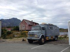 Mercedes-Benz truck camper in Henningsvær, Norway