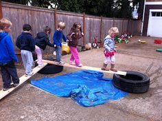 Tons of outside play area ideas. Esp. love planks and tires, making own balance courses...