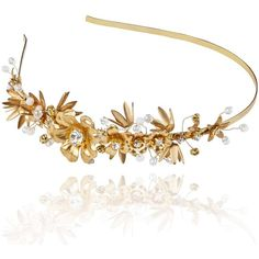 Linni Lavrova - Evia Hairband With Golden Flowers featuring polyvore, women's fashion, accessories, hair accessories, head wrap headband, flower headwrap, head wrap hair accessories, hair band headband and golden hair accessories