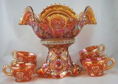 carnival glass pics | it was sometimes given as prizes at fairs and carnivals  I have this set in my collection.