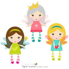 Little Fairy Girls Digital Clipart - Clip Art for Commercial and Personal Use - Card Making, Scrapbooking, Digital Invitations. $3.60, via Etsy.