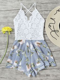 Lace Panel Floral Print Criss Cross Backless Romper -SheIn(Sheinside)