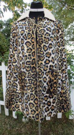 Vintage 1960s Mod Leopard Print Faux Fur Cape  by delilahsdeluxe, $37.50