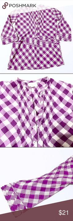 "Anthropologie Tylho 100% Cotton Plaid Blouse Anthropologie Tylho Purple Plaid 100% Cotton Blouse  Size P which appears to be a size XS. Please refer to measurements below: Approximate flat measurements: Inseam from armpit to end of sleeve: 13"" Chest flat across armpit to armpit: 18.5"" Length: 26.5"" Pre-owned with some normal ware from use. Please review photos. 🌹Offers are welcome or add to a bundle🌹 Anthropologie Tops"