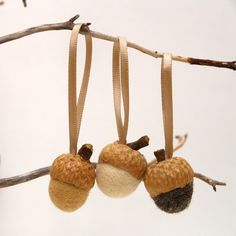 Acorn Ornaments Felted Nature Inspired Eco Friendly by Fairyfolk, $24.00